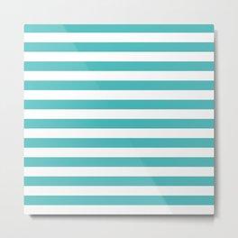 Stripes (Teal & White Pattern) Metal Print