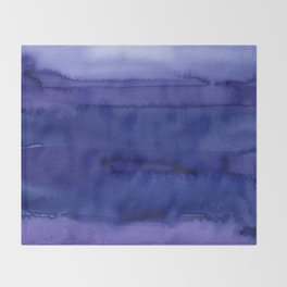 Blue Violet Watercolor Horizontal Stripes Abstract Throw Blanket