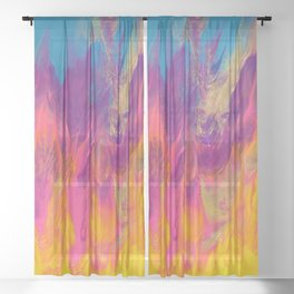Rainbow Camp Fire Abstract Painting Sheer Curtain