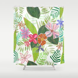 Vivid Color Tropical Summer Pattern Shower Curtain