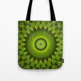 Mandala with green  fern leaves ornaments Tote Bag