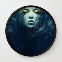 ink Wall Clocks featuring Ink by Anna Dittmann