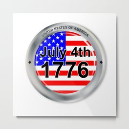 July 4th Button Metal Print