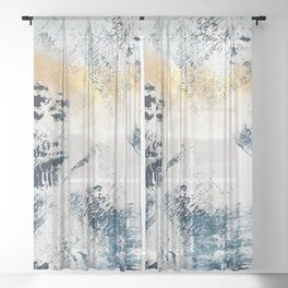 Sunset [1]: a bright, colorful abstract piece in blue, gold, and white by Alyssa Hamilton Art Sheer Curtain