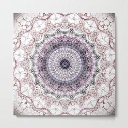 Bohemian White Detailed Mandala Design Metal Print