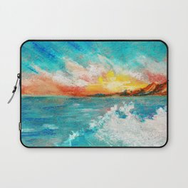 Blazing sunset in the sea Bay drawing by pastel Laptop Sleeve