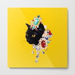 black cat in luxury accessories Metal Print