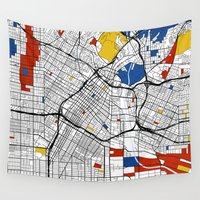 los angeles Wall Tapestries featuring Los Angeles by Mondrian Maps