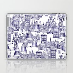 Doctor Who Toile de Jouy | 'Walking Doodle' | Blue Laptop & iPad Skin