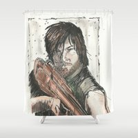 daryl Shower Curtains featuring Daryl Dixon by Eric Dockery