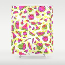Watermelon watercolor Shower Curtain
