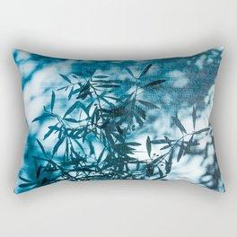 Olive tree leaves silhouette summer blue Rectangular Pillow
