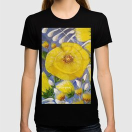 Yellow Bloom, Yellow Abstract Flowers, Yellow and Blue, Floral Prints, Modern Floral T-shirt