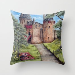 Castell Coch (Red Castle) - Spring Throw Pillow