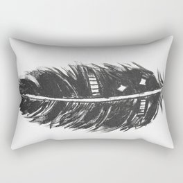 Black feather painting - abstract black feather Rectangular Pillow