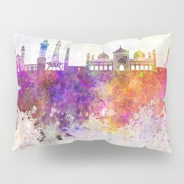 Lahore skyline in watercolor background Pillow Sham