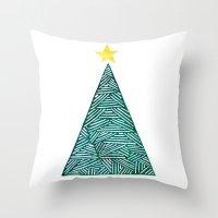 christmas tree Throw Pillows featuring Christmas tree by Bridget Davidson