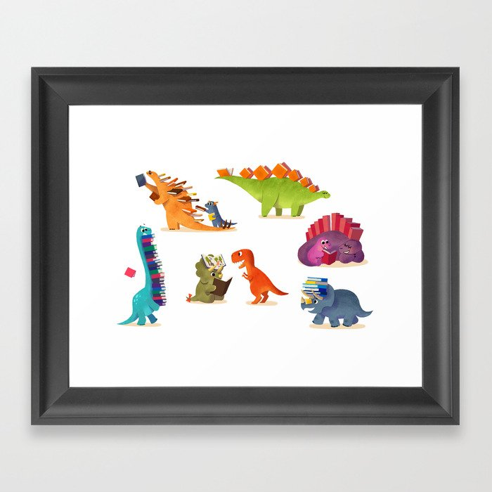 BOOK DINOSAURS Framed Art Print