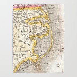 Vintage Map of The Outer Banks (1818) Poster