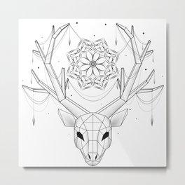 Geometric deer with mandala and jewelry  Metal Print