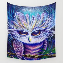 Owl Crystals Wall Tapestry