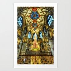 Tewkesbury At Christmas Art Print