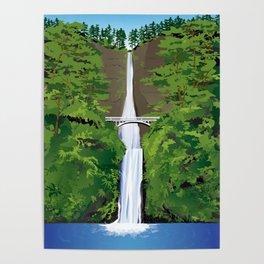 Multnomah Falls Illustration Poster