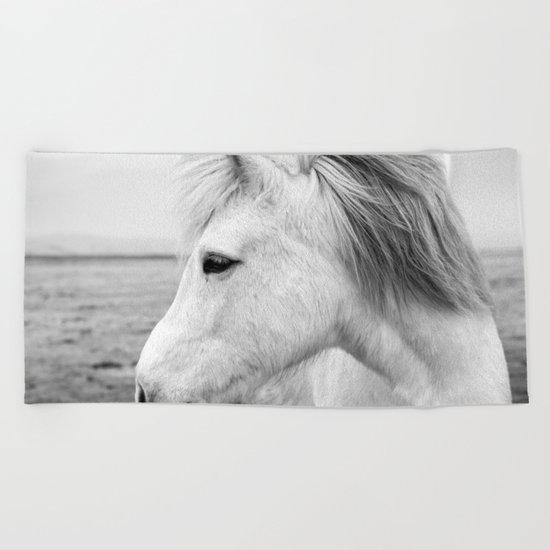 Black and white Horse Beach Towel