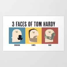 3 Faces of Tom Hardy Art Print
