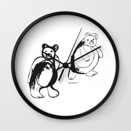 Two little bears pattern, design for kids, black and white drawig Wall Clock