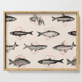 Fishes In Geometrics (Red) Serving Tray