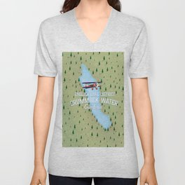 Crummock Water, lake district map travel poster Unisex V-Neck