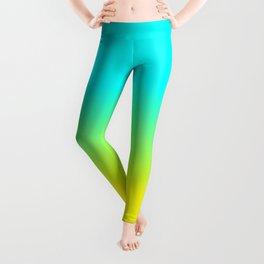 Neon Aqua and Neon Yellow Ombré  Shade Color Fade Leggings