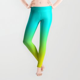 Neon Aqua and Neon Yellow Ombré  Shade Color Fade Leggings