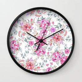 Modern Bohemian pink coral lavender watercolor flowers Wall Clock
