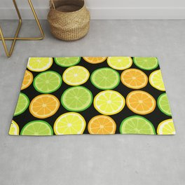 Citrus Slices on Black Rug