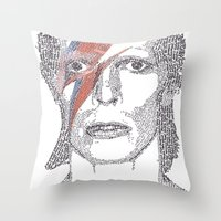 bowie Throw Pillows featuring Bowie by S. L. Fina