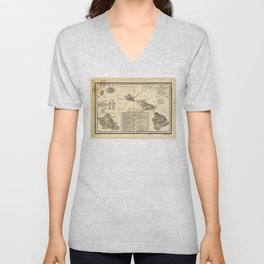 Topographical map of the Hawaiian Islands (1893) Unisex V-Neck