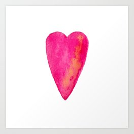 Pink Heart Full Of Love Watercolor Art Print