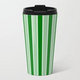 Large Vertical Christmas Holly and Ivy Green Velvet Bed Stripes Travel Mug