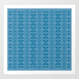 blue retro pattern Art Print