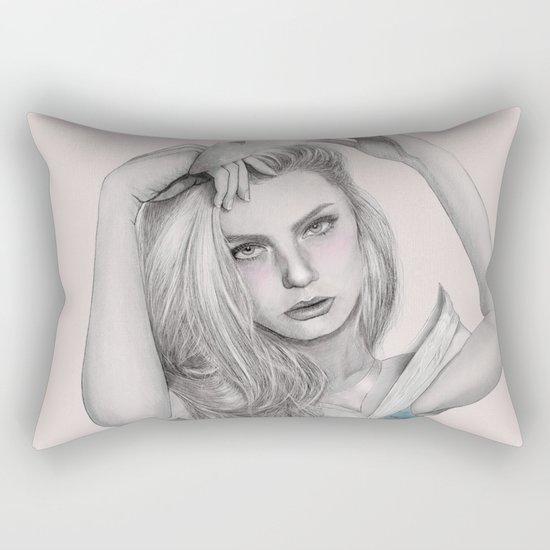 Sleepy Beauty Drawing (Digital Art) Rectangular Pillow