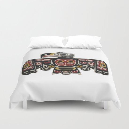 American Native Art Cut In Wood No. 6 Duvet Cover
