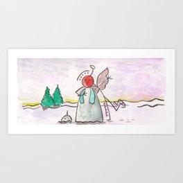 """#cagsticks """"An angel mocking a snowman"""" Art Print"""