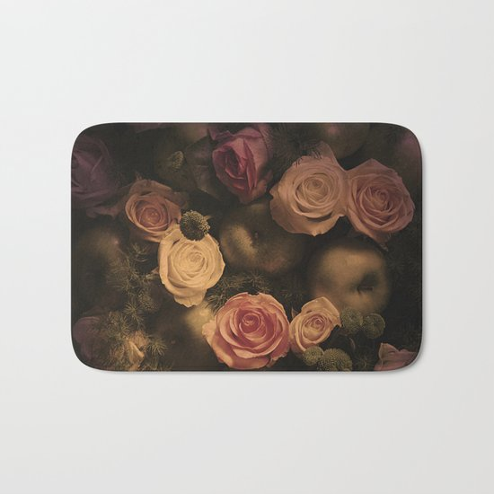 Green apples and Roses Bath Mat