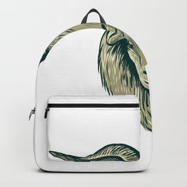 Cashmere Goat Head Drawing Backpack