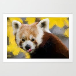 Red Panda in Triangles Art Print