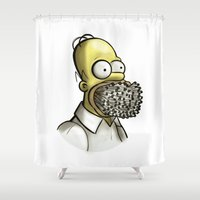 homer Shower Curtains featuring Homer Simpson [File Photo] by ieIndigoEast