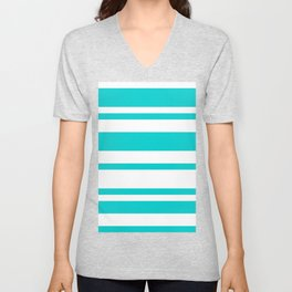 Mixed Horizontal Stripes - White and Cyan Unisex V-Neck