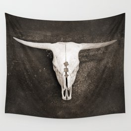 Sepia Brown Cow Skull Wall Tapestry
